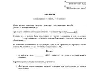 Заявление об уменьшении государственной пошлины в суд