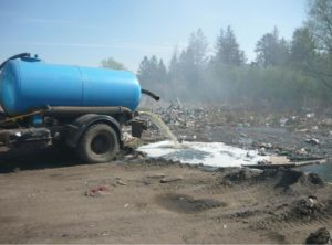 Слив отходов в неположенном месте