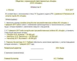 Образец приказ об установлении оклада