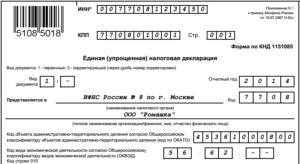 Образец заполнения нулевой формы форма по кнд 1151085