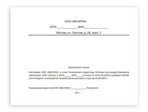 Гарантийное письмо об оплате аренды помещения образец