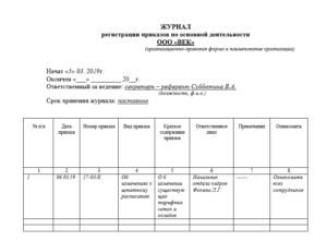 Журнал регистрации приказов по основной деятельности в доу