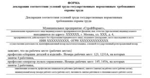 Пример заполнения декларации соответствия условий труда